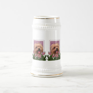 Mothers Day - Pink Tulips - Morkie - Lacey Beer Stein