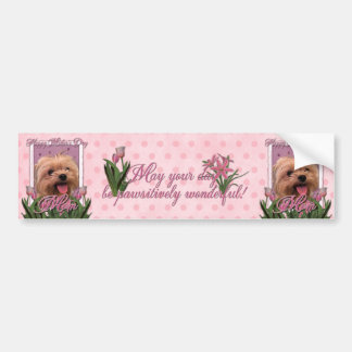 Mothers Day - Pink Tulips - Morkie - Lacey Bumper Sticker