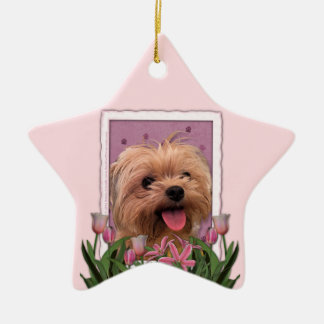 Mothers Day - Pink Tulips - Morkie - Lacey Ceramic Ornament