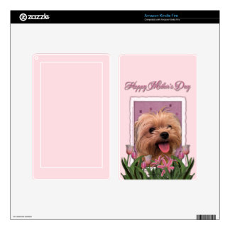 Mothers Day - Pink Tulips - Morkie - Lacey Decals For Kindle Fire