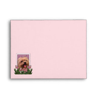 Mothers Day - Pink Tulips - Morkie - Lacey Envelope