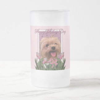 Mothers Day - Pink Tulips - Morkie - Lacey Frosted Glass Beer Mug