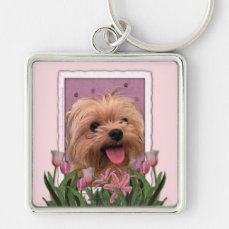 Mothers Day - Pink Tulips - Morkie - Lacey Keychain
