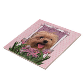 Mothers Day - Pink Tulips - Morkie - Lacey Tile