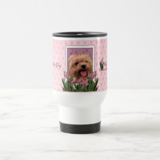 Mothers Day - Pink Tulips - Morkie - Lacey Travel Mug