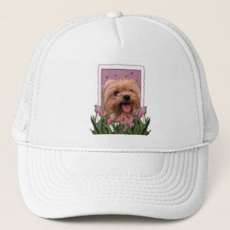 Mothers Day - Pink Tulips - Morkie - Lacey Trucker Hat