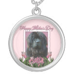 Mothers Day - Pink Tulips - Newfoundland Round Pendant Necklace