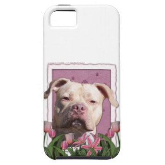 Mothers Day - Pink Tulips - Pitbull - Jersey Girl iPhone 5 Case