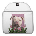 Mothers Day - Pink Tulips - Pitbull - Jersey Girl Sleeve For MacBooks