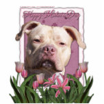 Mothers Day - Pink Tulips - Pitbull - Jersey Girl Acrylic Cut Out