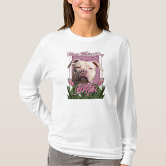 Mothers Day - Pink Tulips - Pitbull - Jersey Girl T-Shirt