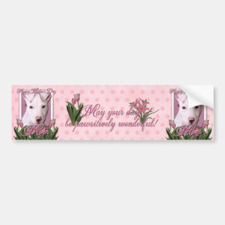 Mothers Day - Pink Tulips - Pitbull Puppy - Petey Bumper Sticker