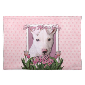 Mothers Day - Pink Tulips - Pitbull Puppy - Petey Cloth Placemat