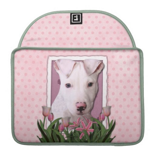Mothers Day - Pink Tulips - Pitbull Puppy - Petey Sleeve For MacBook Pro