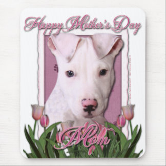 Mothers Day - Pink Tulips - Pitbull Puppy - Petey Mouse Pad