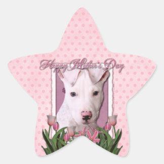 Mothers Day - Pink Tulips - Pitbull Puppy - Petey Star Sticker