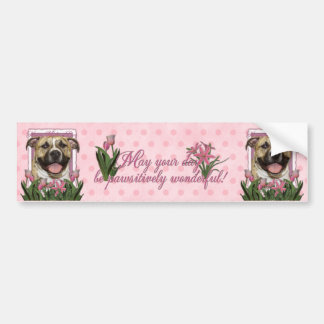 Mothers Day - Pink Tulips - Pitbull - Tigger Car Bumper Sticker