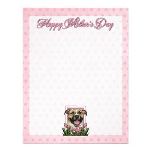 Mothers Day - Pink Tulips - Pitbull - Tigger Personalized Letterhead