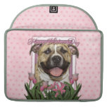 Mothers Day - Pink Tulips - Pitbull - Tigger Sleeves For MacBooks