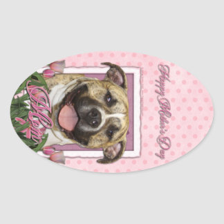 Mothers Day - Pink Tulips - Pitbull - Tigger Stickers