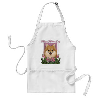 Mothers Day - Pink Tulips - Pomeranian Adult Apron