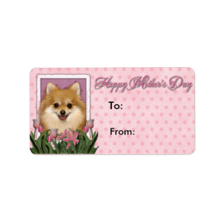 Mothers Day - Pink Tulips - Pomeranian Custom Address Label