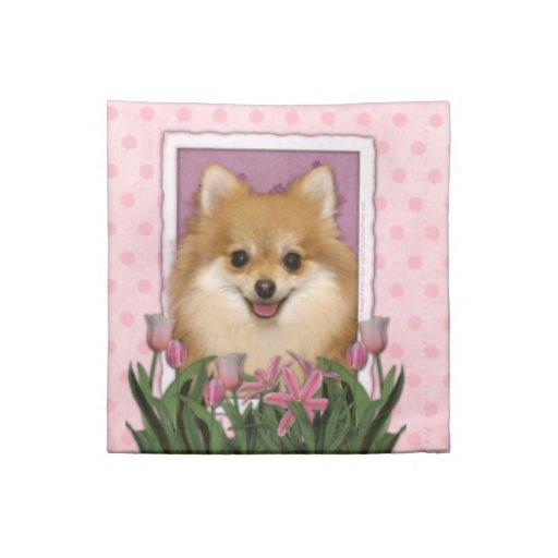 Mothers Day - Pink Tulips - Pomeranian Cloth Napkin
