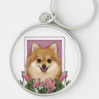 Mothers Day - Pink Tulips - Pomeranian Silver-Colored Round Keychain