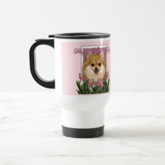 Mothers Day - Pink Tulips - Pomeranian Travel Mug