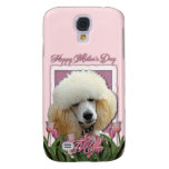 Mothers Day - Pink Tulips - Poodle - Apricot Galaxy S4 Cases