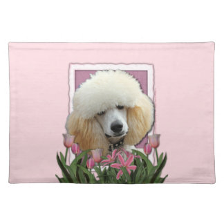 Mothers Day - Pink Tulips - Poodle - Apricot Cloth Placemat