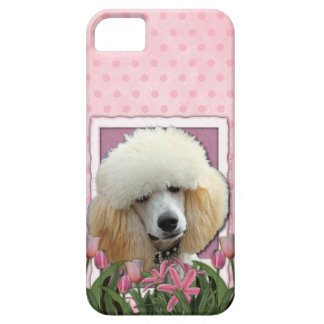 Mothers Day - Pink Tulips - Poodle - Apricot iPhone SE/5/5s Case