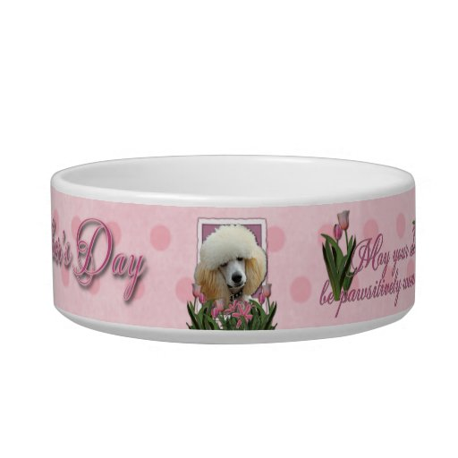 Mothers Day - Pink Tulips - Poodle - Apricot Cat Food Bowls