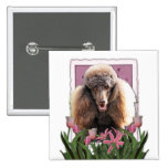Mothers Day - Pink Tulips - Poodle - Chocolate Buttons