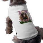 Mothers Day - Pink Tulips - Poodle - Chocolate Doggie Tee Shirt