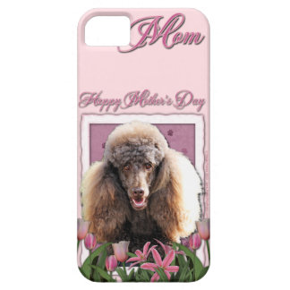 Mothers Day - Pink Tulips - Poodle - Chocolate iPhone SE/5/5s Case