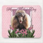 Mothers Day - Pink Tulips - Poodle - Chocolate Mouse Pads