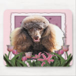 Mothers Day - Pink Tulips - Poodle - Chocolate Mouse Pad