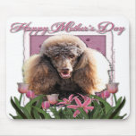 Mothers Day - Pink Tulips - Poodle - Chocolate Mousepads