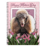 Mothers Day - Pink Tulips - Poodle - Chocolate Spiral Notebooks