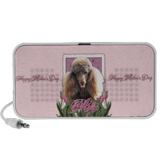 Mothers Day - Pink Tulips - Poodle - Chocolate Portable Speaker