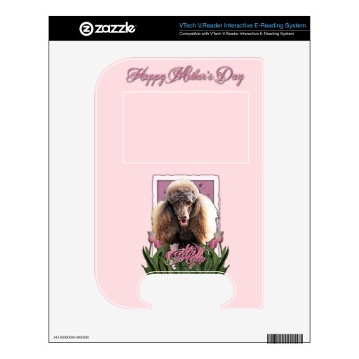 Mothers Day - Pink Tulips - Poodle - Chocolate VTech V.Reader Decal