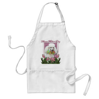 Mothers Day - Pink Tulips - Poodle - White Adult Apron