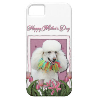 Mothers Day - Pink Tulips - Poodle - White iPhone SE/5/5s Case