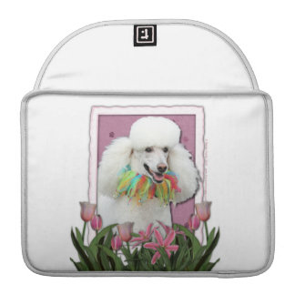 Mothers Day - Pink Tulips - Poodle - White MacBook Pro Sleeves