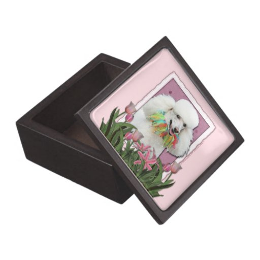 Mothers Day - Pink Tulips - Poodle - White Premium Trinket Boxes