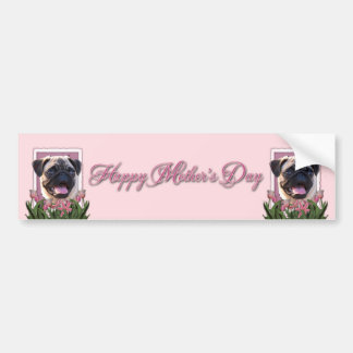 Mothers Day - Pink Tulips - Pug Bumper Sticker
