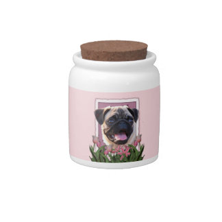 Mothers Day - Pink Tulips - Pug Candy Dishes