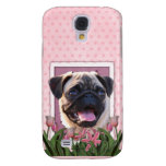 Mothers Day - Pink Tulips - Pug Samsung Galaxy S4 Cover