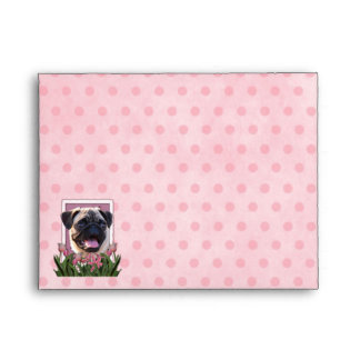 Mothers Day - Pink Tulips - Pug Envelope